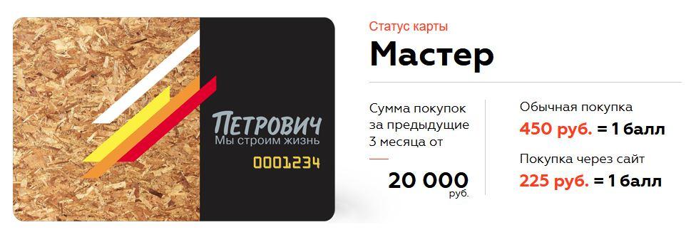 Петрович статус Мастер даётся при покупке от 20.000 за 3 месяца, даёт 1 балл за 225 рублей покупок на сайте или за 450 руб покупок в магазине