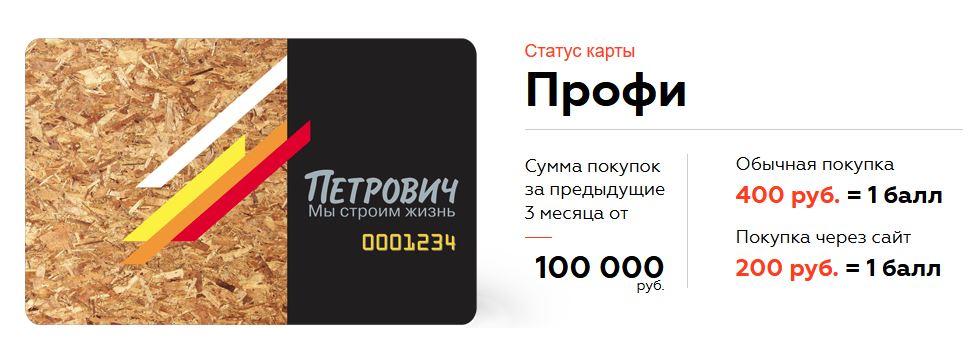 Петрович статус Профи даётся при покупке от 100.000 за 3 месяца, даёт 1 балл за 200 рублей покупок на сайте или за 400 руб покупок в магазине